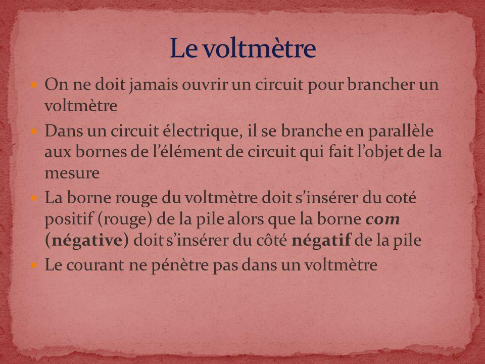 Le voltmètre On ne doit jamais ouvrir un circuit pour brancher un voltmètre.