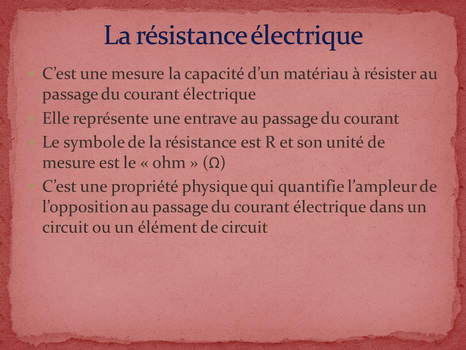 La résistance électrique