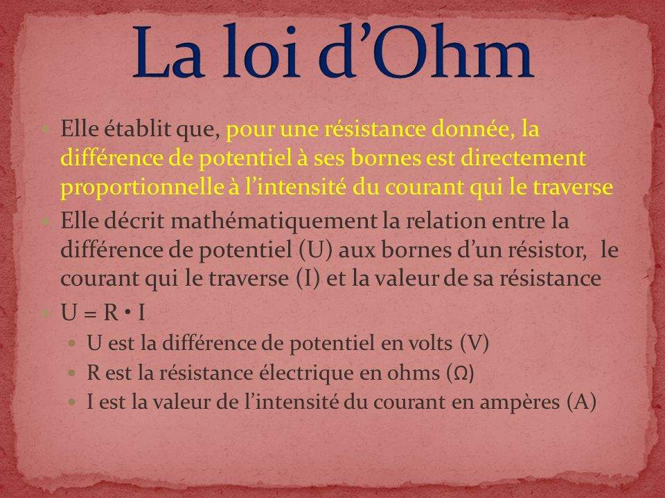 La loi d'Ohm