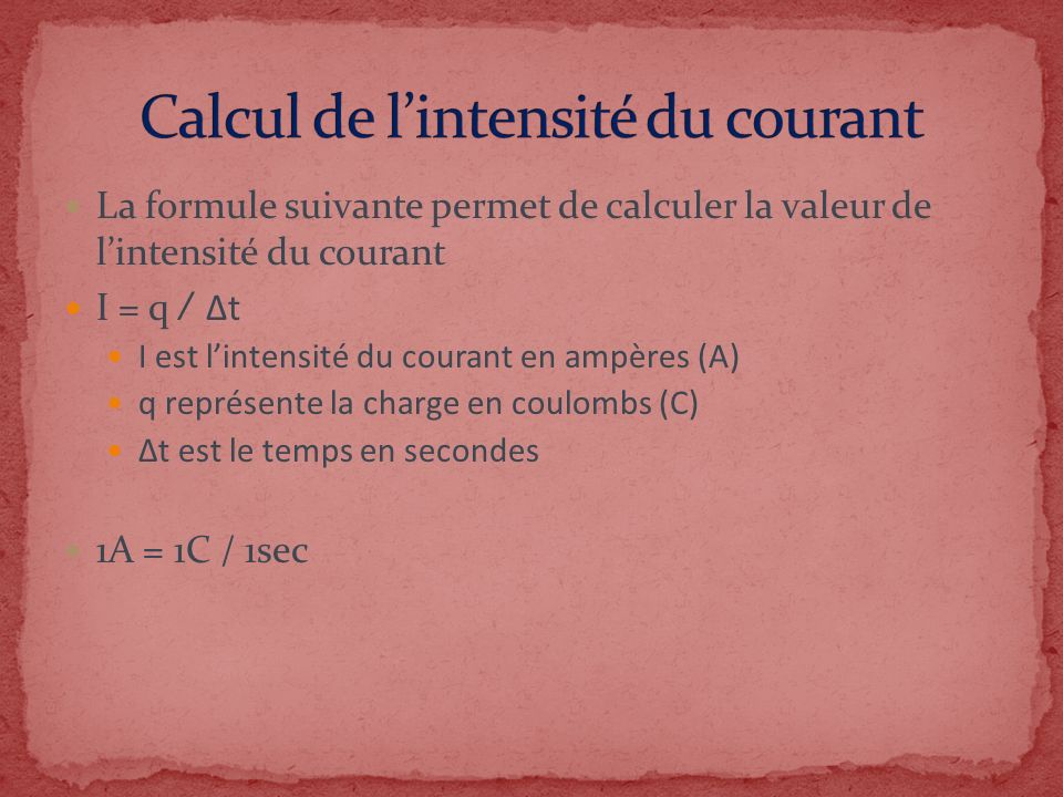Calcul de l'intensité du courant