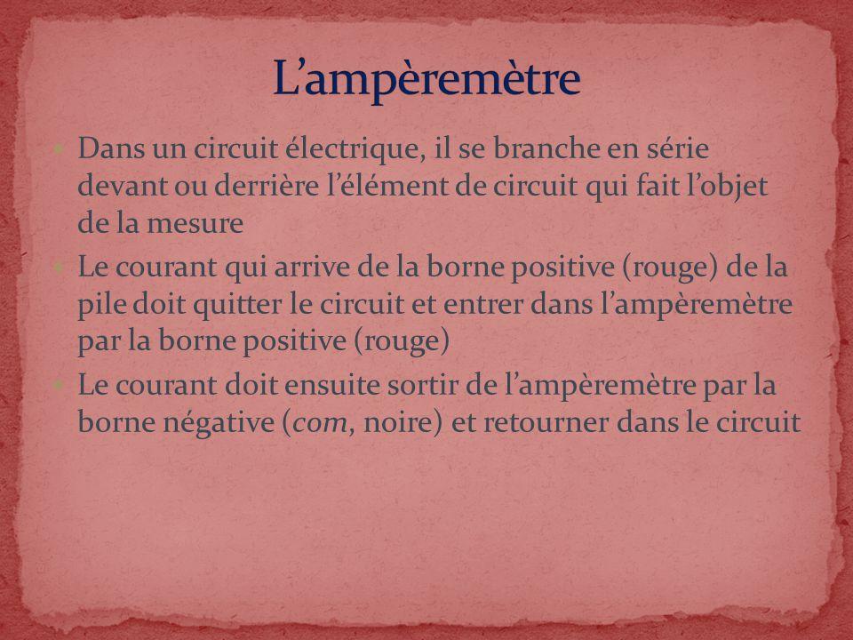 L'ampèremètre Dans un circuit électrique, il se branche en série devant ou derrière l'élément de circuit qui fait l'objet de la mesure.