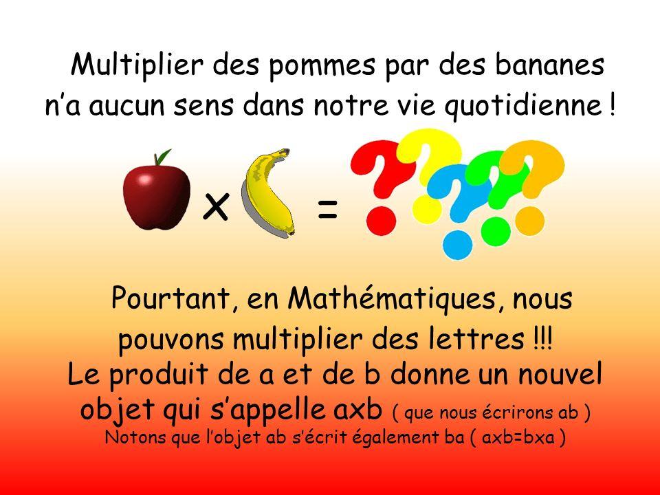 Pourtant, en Mathématiques, nous pouvons multiplier des lettres !!!