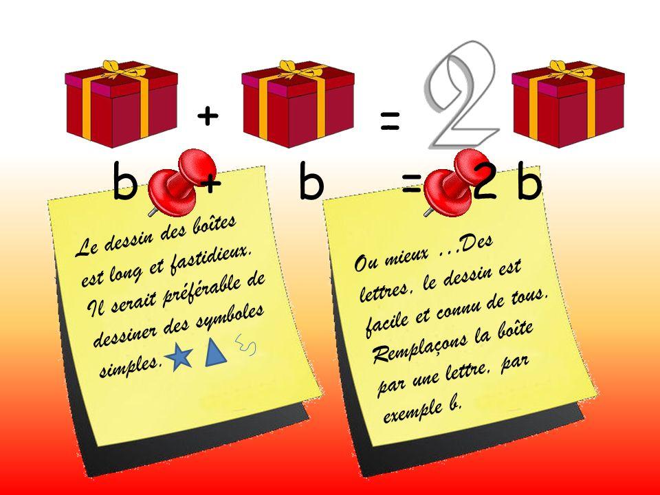 + = b + b = 2 b Le dessin des boîtes est long et fastidieux.