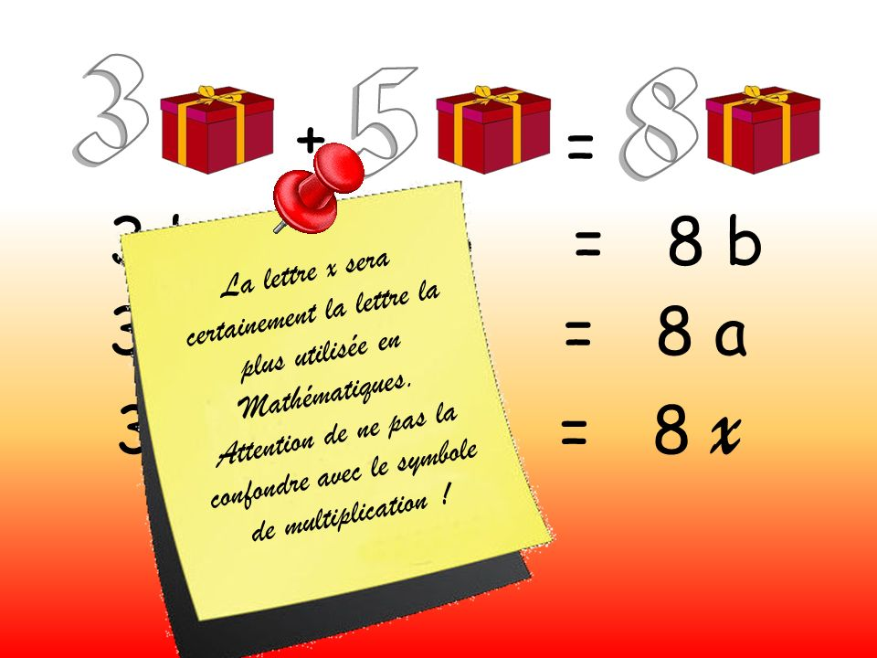 Attention de ne pas la confondre avec le symbole de multiplication !