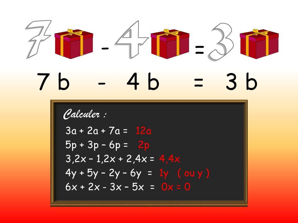 - = 7 b - 4 b = 3 b Calculer : 3a + 2a + 7a = 12a 5p + 3p – 6p = 2p