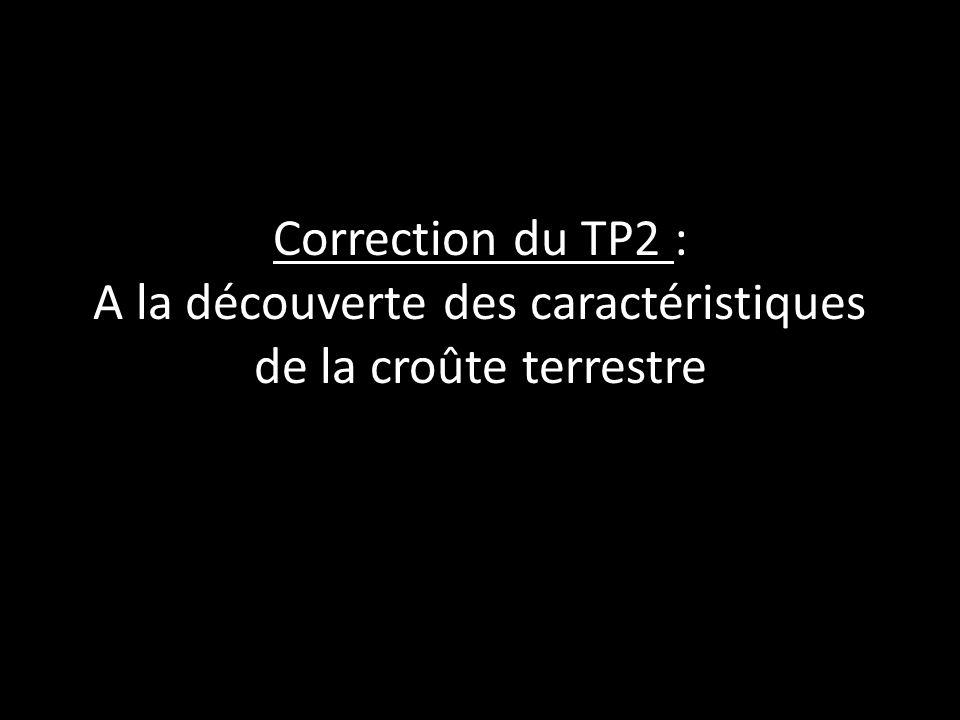 Correction du TP2 : A la découverte des caractéristiques de la croûte terrestre