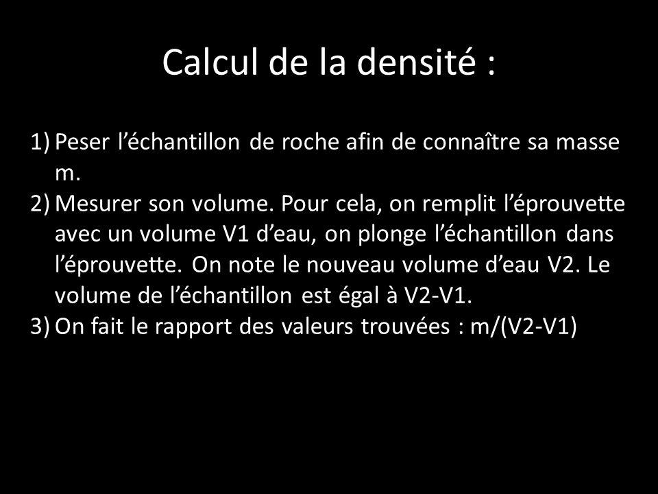 Calcul de la densité : Peser l'échantillon de roche afin de connaître sa masse m.