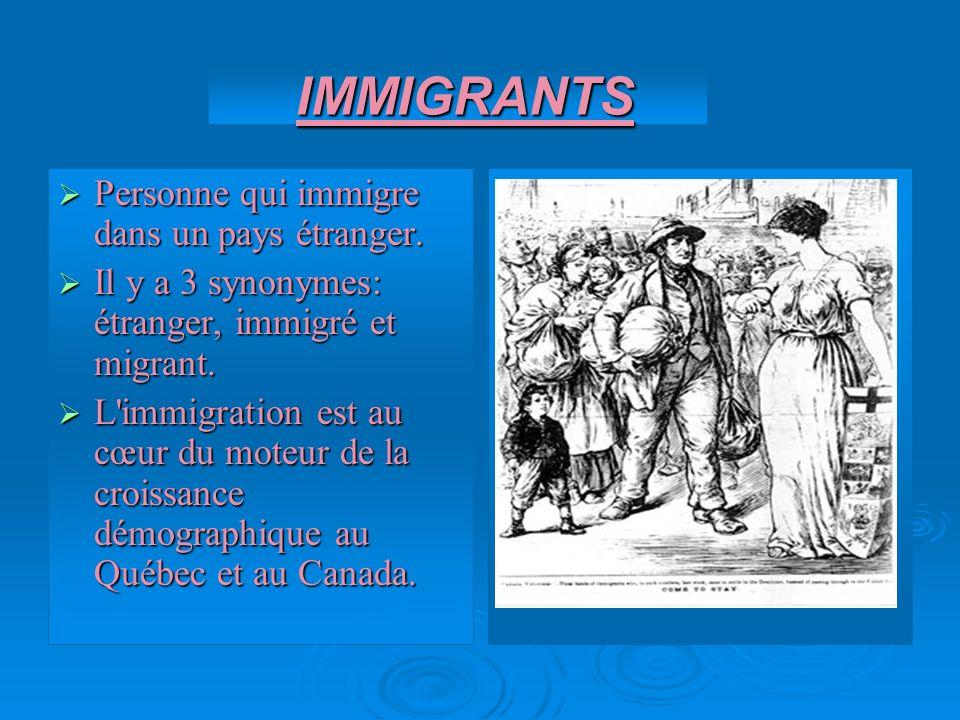 IMMIGRANTS Personne qui immigre dans un pays étranger.