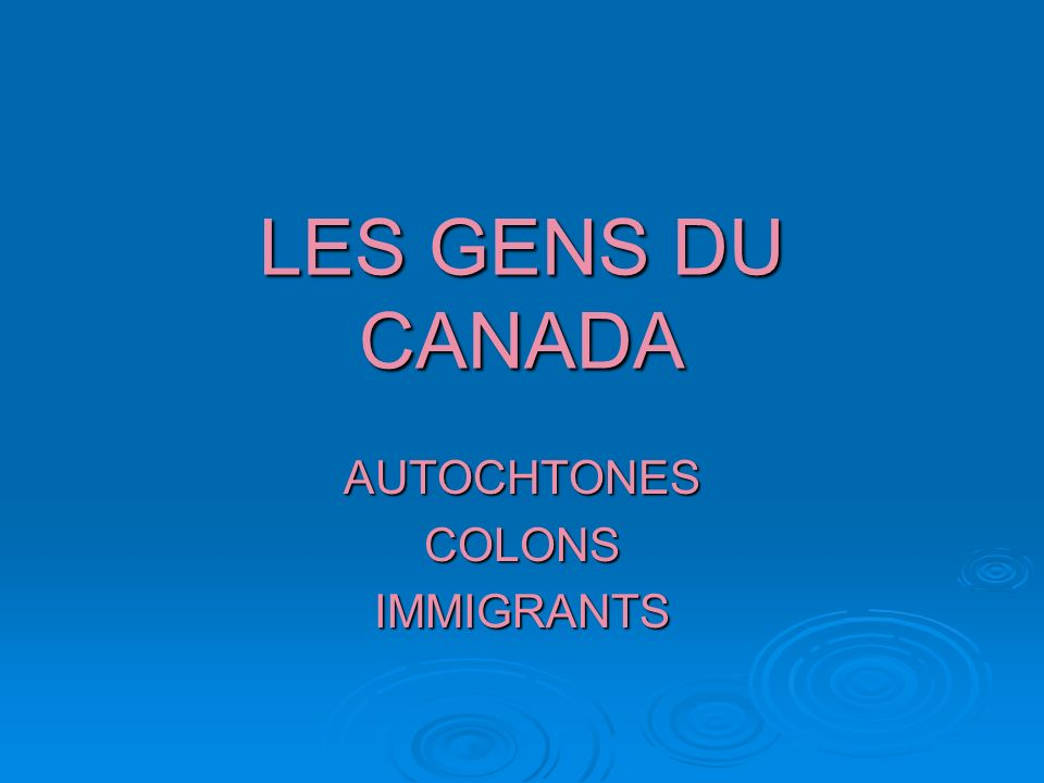 AUTOCHTONES COLONS IMMIGRANTS