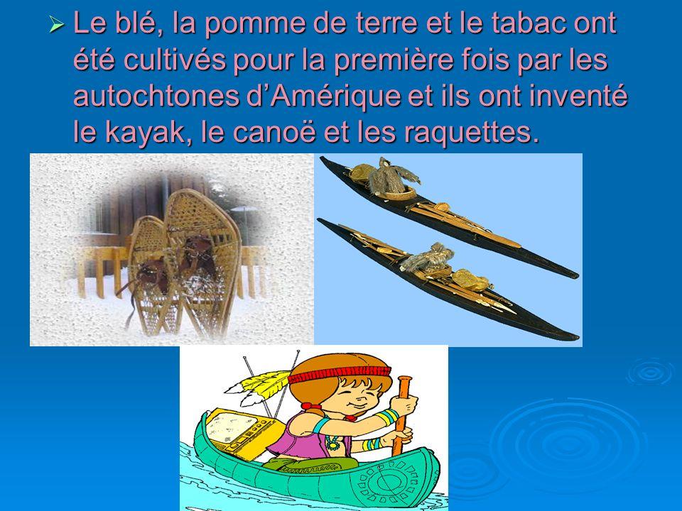 Le blé, la pomme de terre et le tabac ont été cultivés pour la première fois par les autochtones d'Amérique et ils ont inventé le kayak, le canoë et les raquettes.
