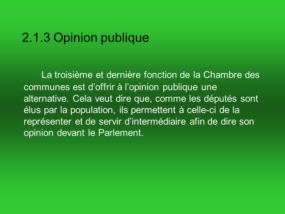 2.1.3 Opinion publique