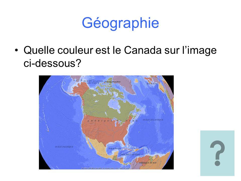 Géographie Quelle couleur est le Canada sur l'image ci-dessous