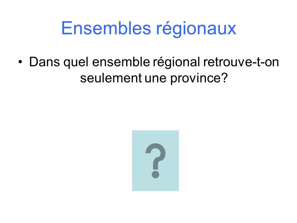Dans quel ensemble régional retrouve-t-on seulement une province