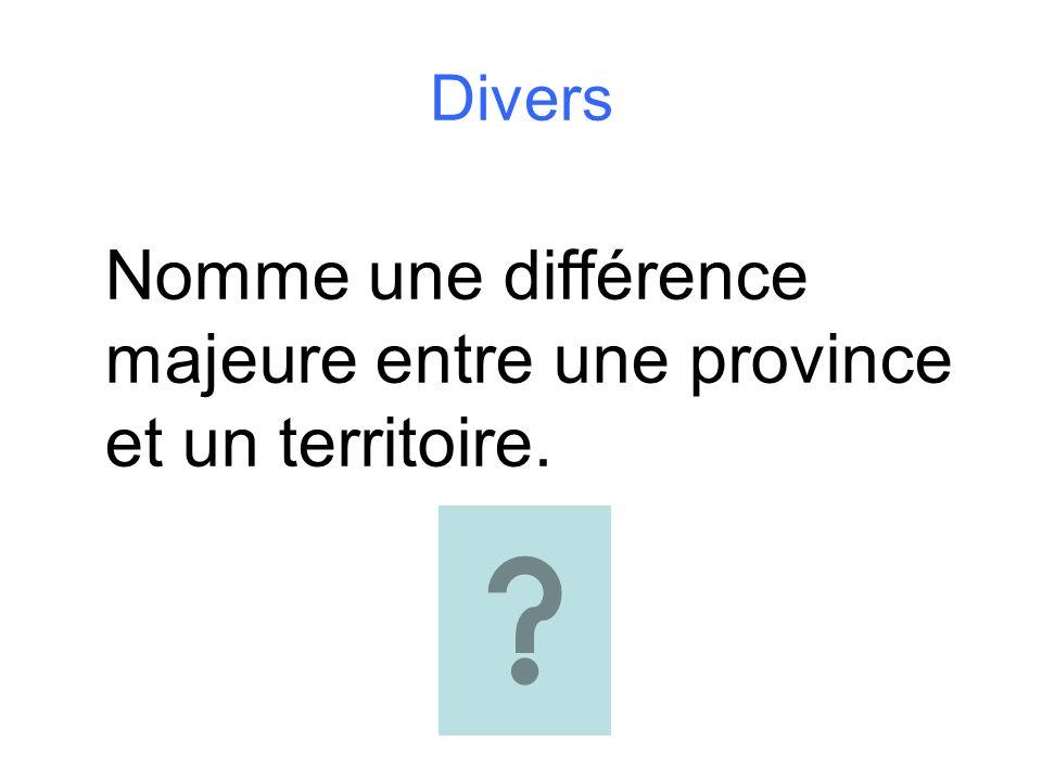 Nomme une différence majeure entre une province et un territoire.