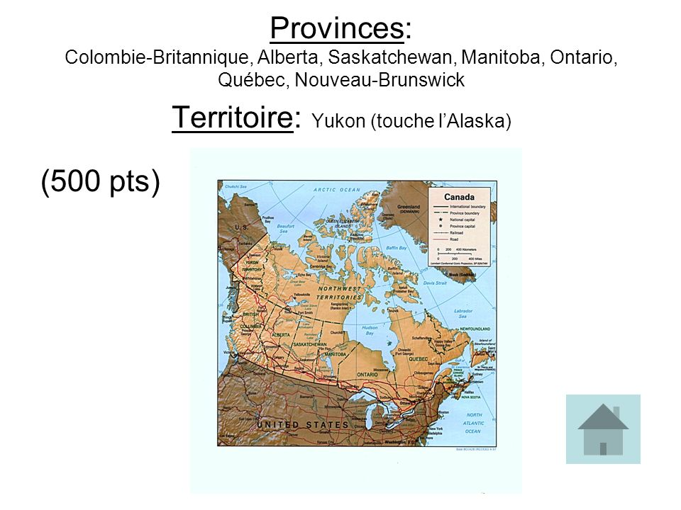 Provinces: Colombie-Britannique, Alberta, Saskatchewan, Manitoba, Ontario, Québec, Nouveau-Brunswick Territoire: Yukon (touche l'Alaska)