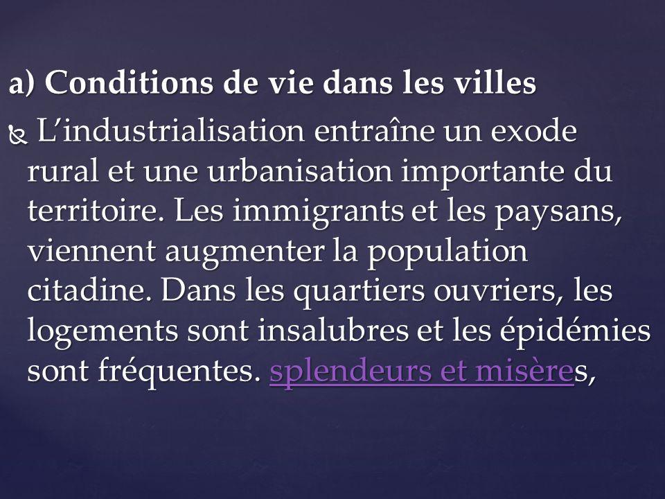 a) Conditions de vie dans les villes