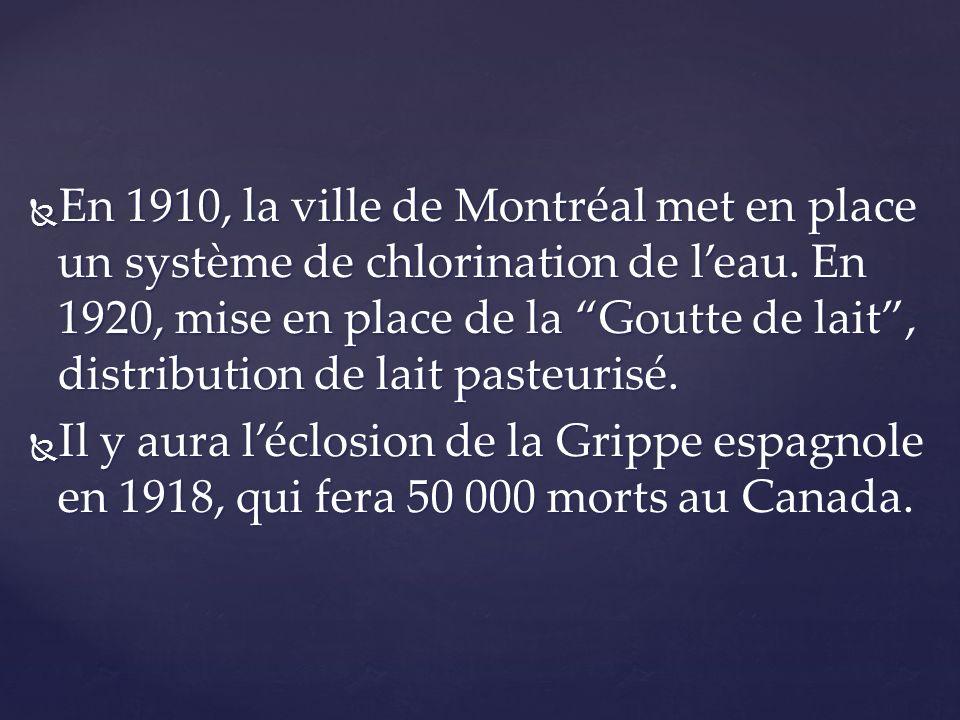 En 1910, la ville de Montréal met en place un système de chlorination de l'eau. En 1920, mise en place de la Goutte de lait , distribution de lait pasteurisé.