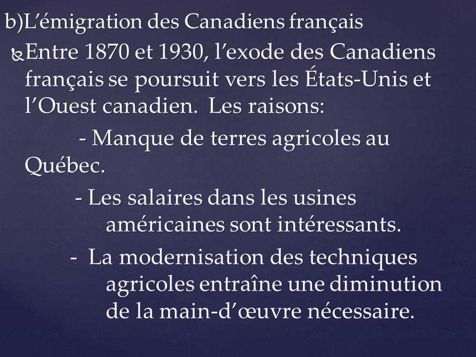 b)L'émigration des Canadiens français