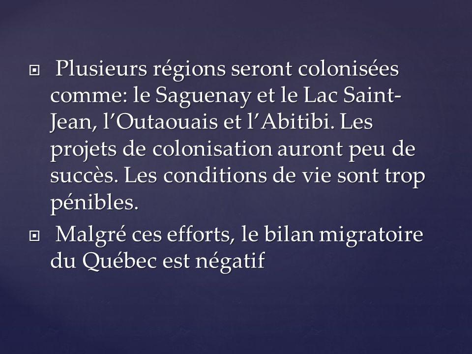 Plusieurs régions seront colonisées comme: le Saguenay et le Lac Saint-Jean, l'Outaouais et l'Abitibi. Les projets de colonisation auront peu de succès. Les conditions de vie sont trop pénibles.