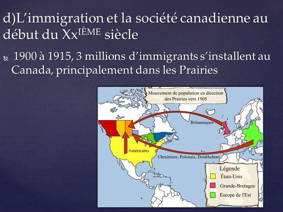 d)L'immigration et la société canadienne au début du Xxième siècle