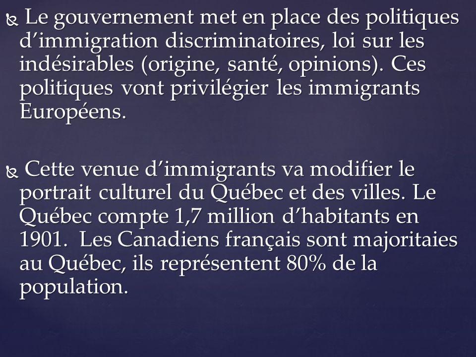 Le gouvernement met en place des politiques d'immigration discriminatoires, loi sur les indésirables (origine, santé, opinions). Ces politiques vont privilégier les immigrants Européens.