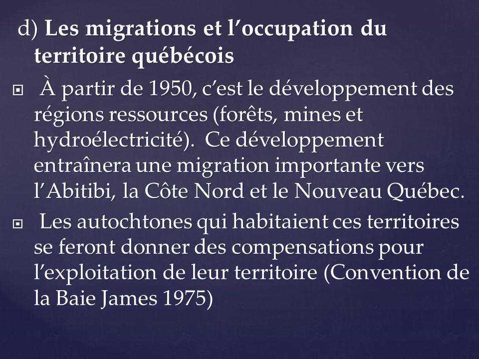 d) Les migrations et l'occupation du territoire québécois