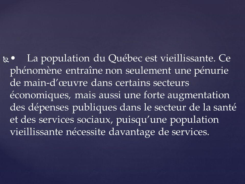 •. La population du Québec est vieillissante