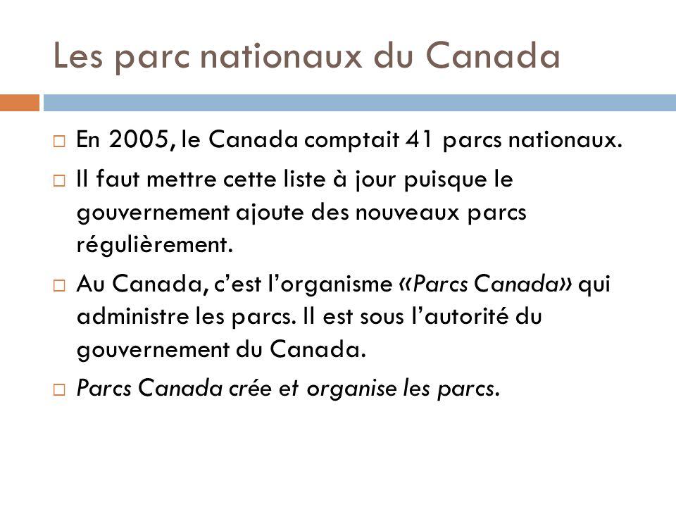 Les parc nationaux du Canada