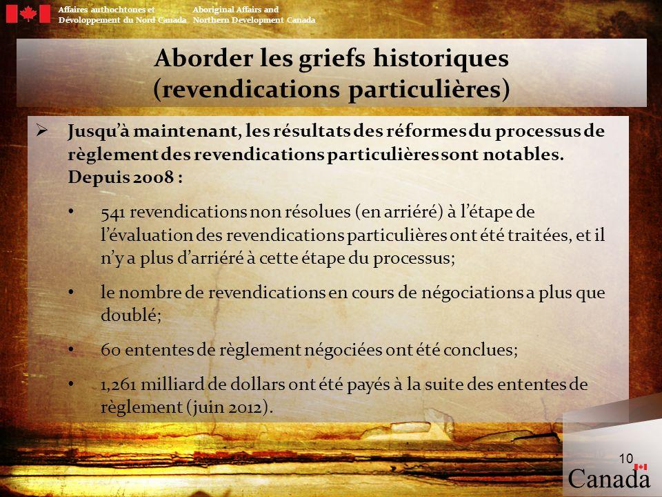 Aborder les griefs historiques (revendications particulières)