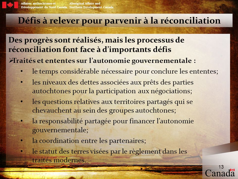 Défis à relever pour parvenir à la réconciliation