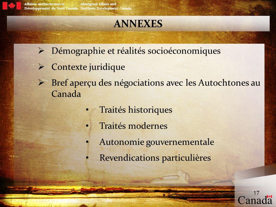 Canada ANNEXES Démographie et réalités socioéconomiques