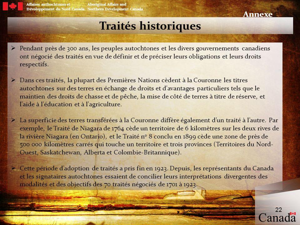 Canada Traités historiques Annexe
