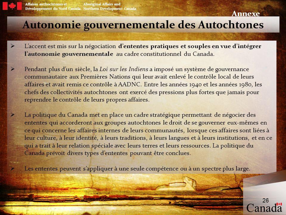 Autonomie gouvernementale des Autochtones