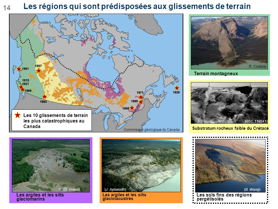 Les régions qui sont prédisposées aux glissements de terrain