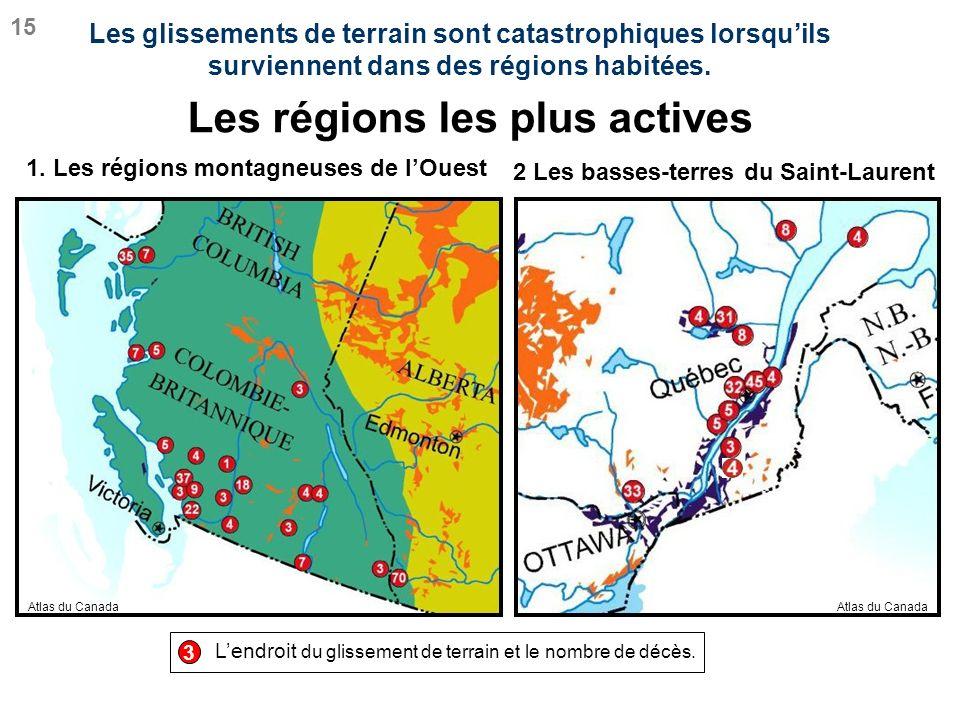 Les régions les plus actives