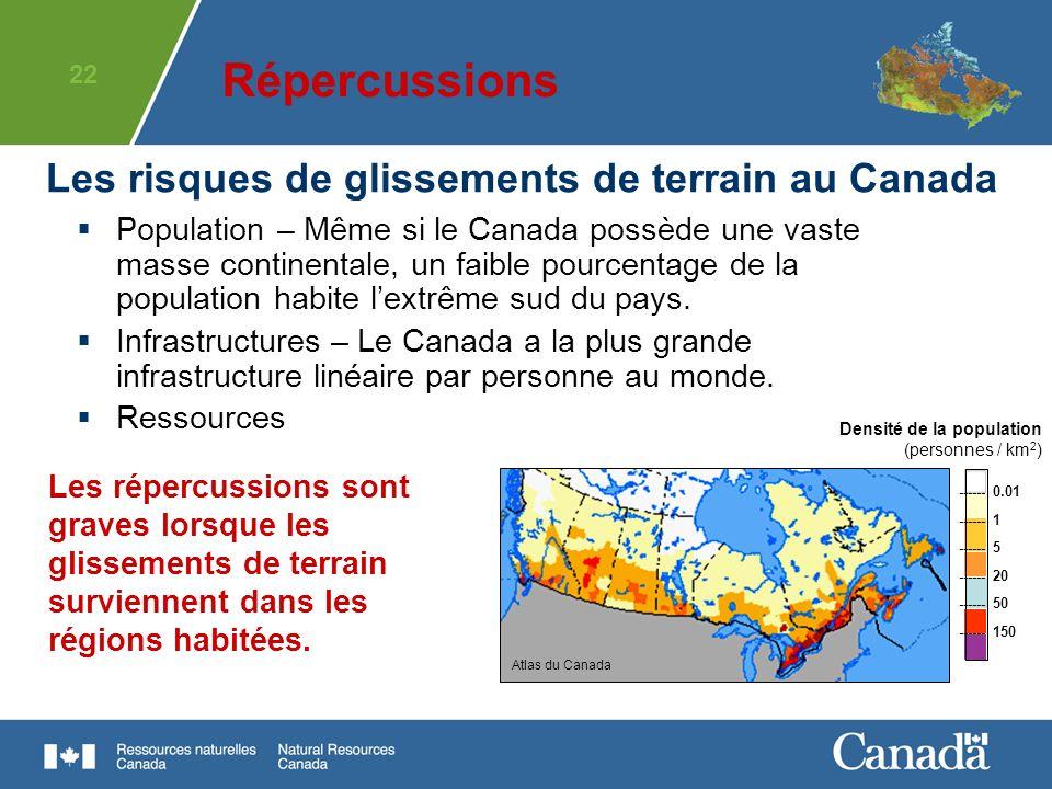 Répercussions Les risques de glissements de terrain au Canada
