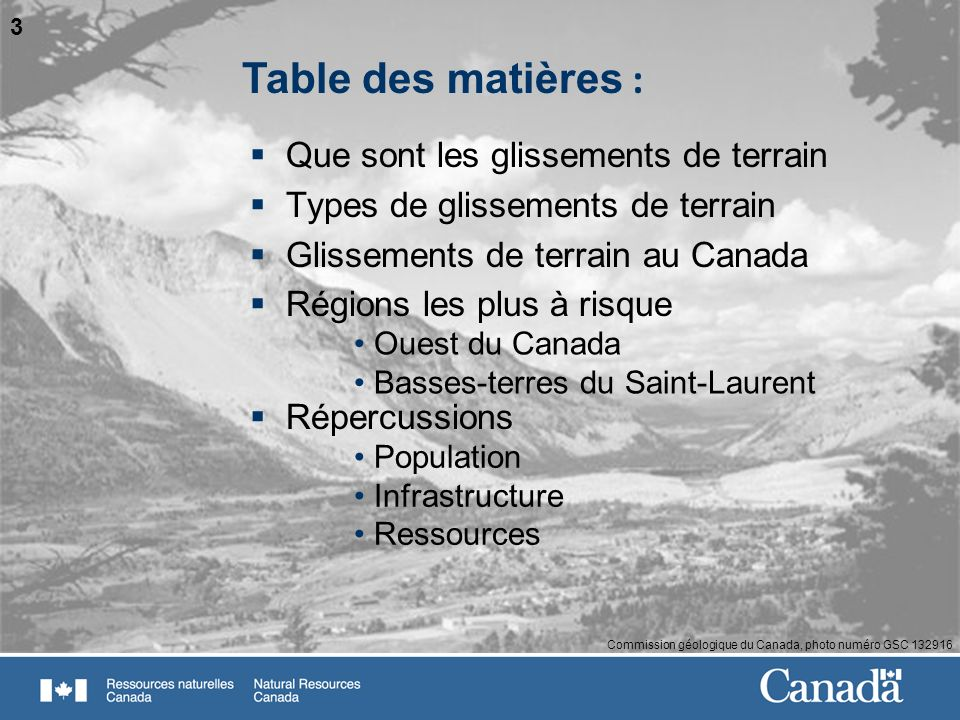 Table des matières : Que sont les glissements de terrain
