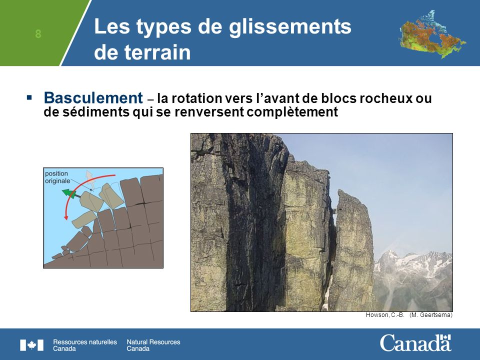 Les types de glissements de terrain