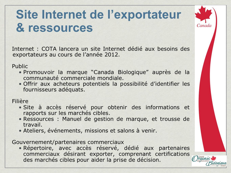 Site Internet de l'exportateur & ressources