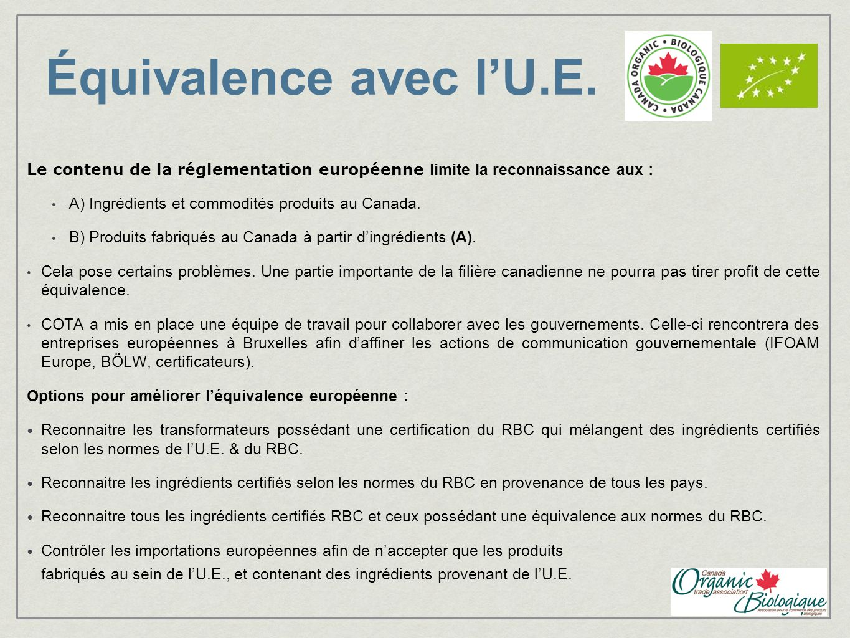 Équivalence avec l'U.E. Le contenu de la réglementation européenne limite la reconnaissance aux : A) Ingrédients et commodités produits au Canada.