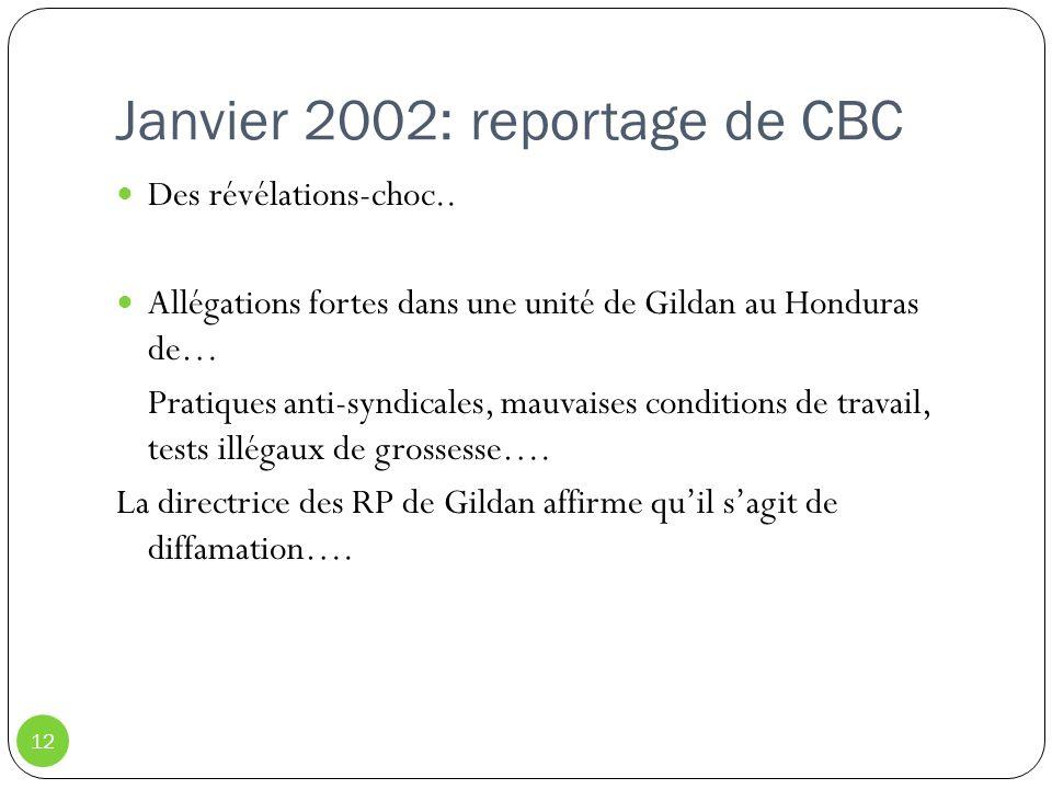 Janvier 2002: reportage de CBC