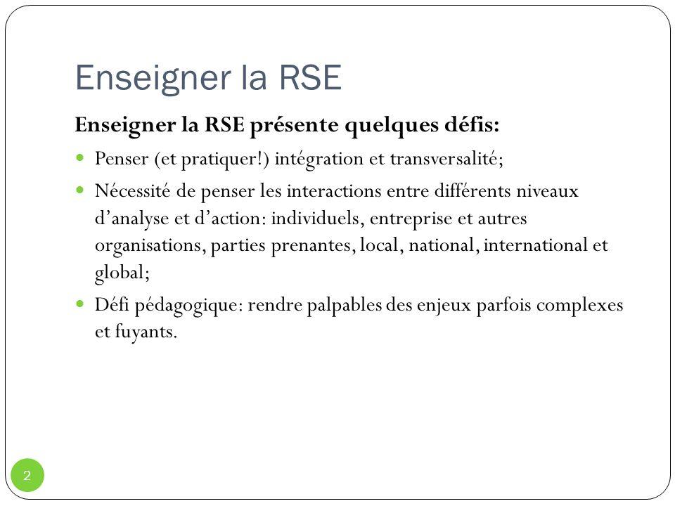 Enseigner la RSE Enseigner la RSE présente quelques défis: