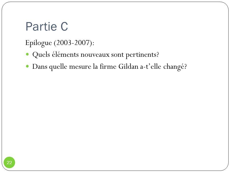 Partie C Epilogue (2003-2007): Quels éléments nouveaux sont pertinents.