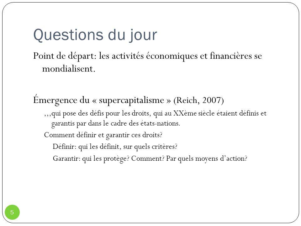 Questions du jour Point de départ: les activités économiques et financières se mondialisent. Émergence du « supercapitalisme » (Reich, 2007)