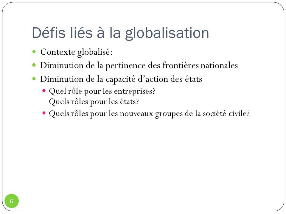 Défis liés à la globalisation