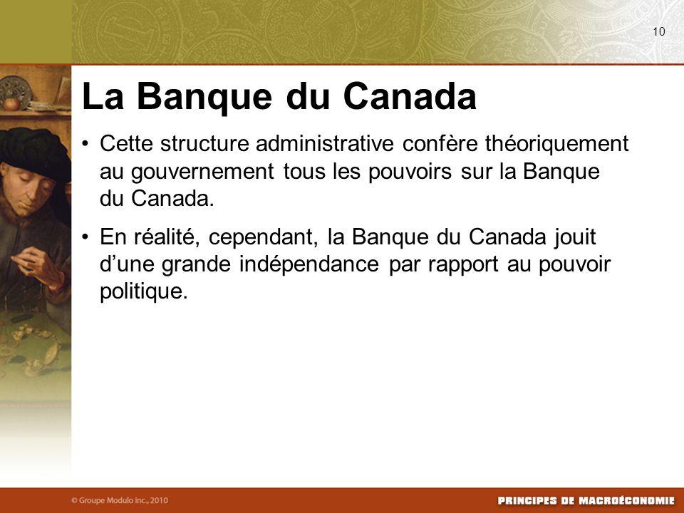 08/04/09 10. La Banque du Canada. Cette structure administrative confère théoriquement au gouvernement tous les pouvoirs sur la Banque du Canada.