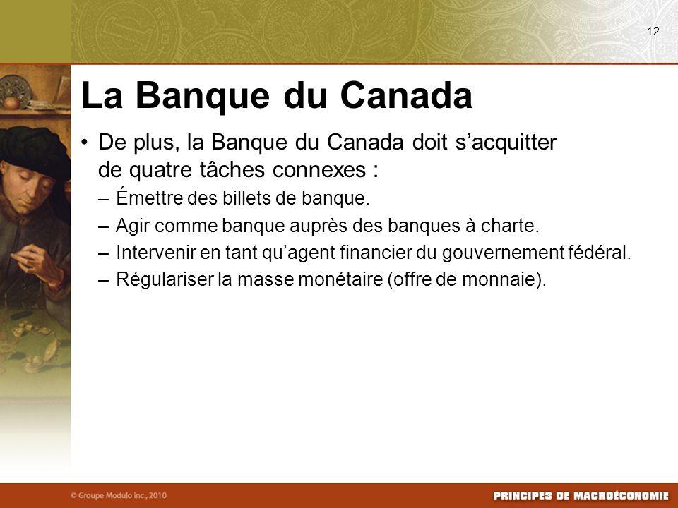 08/04/09 12. La Banque du Canada. De plus, la Banque du Canada doit s'acquitter de quatre tâches connexes :