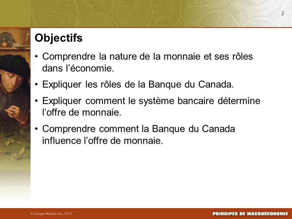 08/04/09 2. Objectifs. Comprendre la nature de la monnaie et ses rôles dans l'économie. Expliquer les rôles de la Banque du Canada.