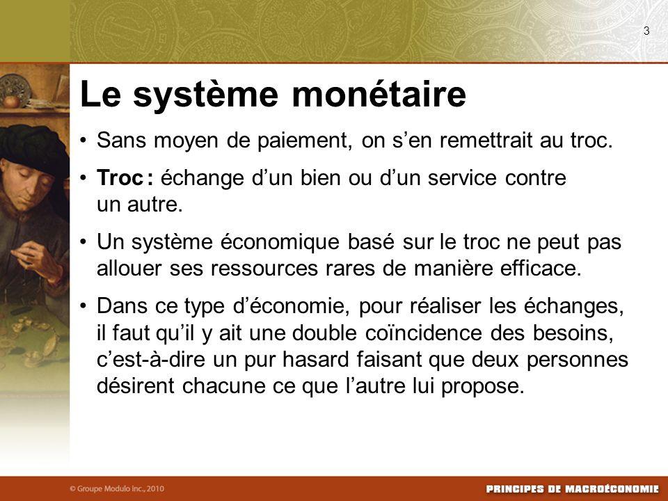 08/04/09 3. Le système monétaire. Sans moyen de paiement, on s'en remettrait au troc. Troc : échange d'un bien ou d'un service contre un autre.