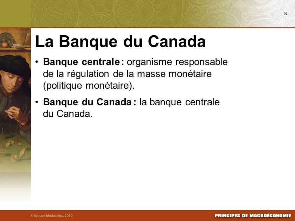 08/04/09 8. La Banque du Canada. Banque centrale : organisme responsable de la régulation de la masse monétaire (politique monétaire).